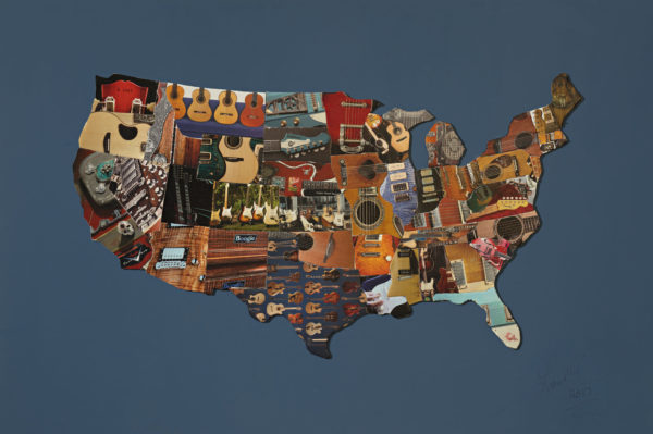 L. M. Lieberman, United Map of Guitars; Original Mixed Media Art Piece