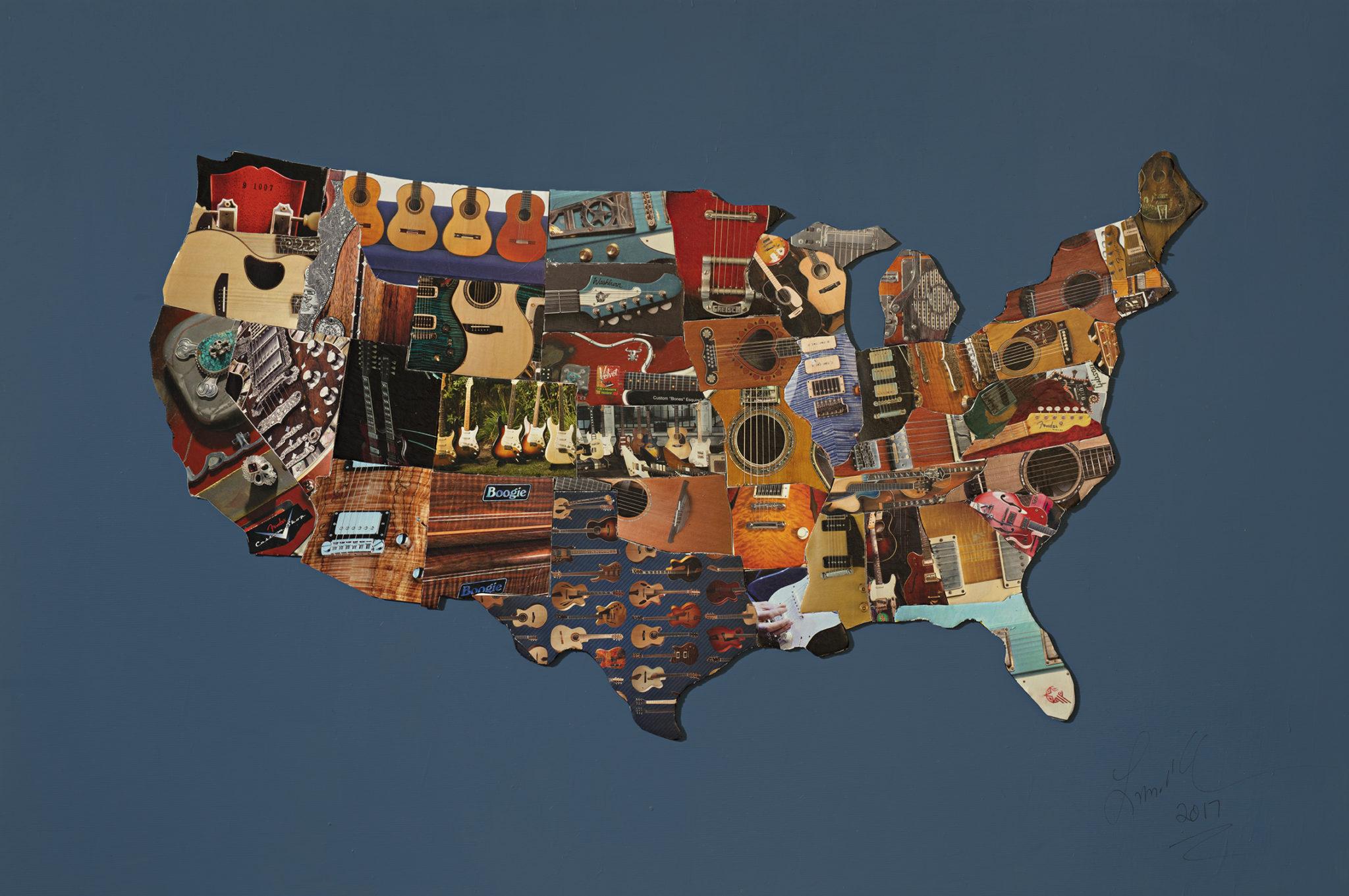 L. M. Lieberman, United Map of Guitars; Original Mixed Media Art Piece