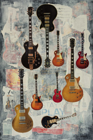 L. M. Lieberman, Stay and Play Les Paul's Original Mixed Media Art Piece